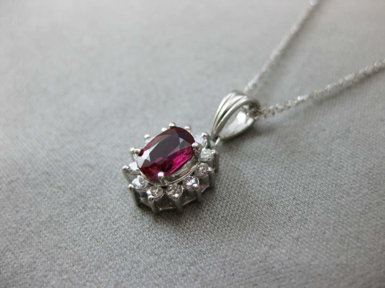 ESTATE 1.65CT DIAMOND RUBY PATINUM LADY DIANA CLU… - image 3