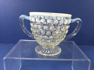 Vintage Anchor Hocking, Moonstone Opalescent Hobnail Double Handled Sugar Bowl