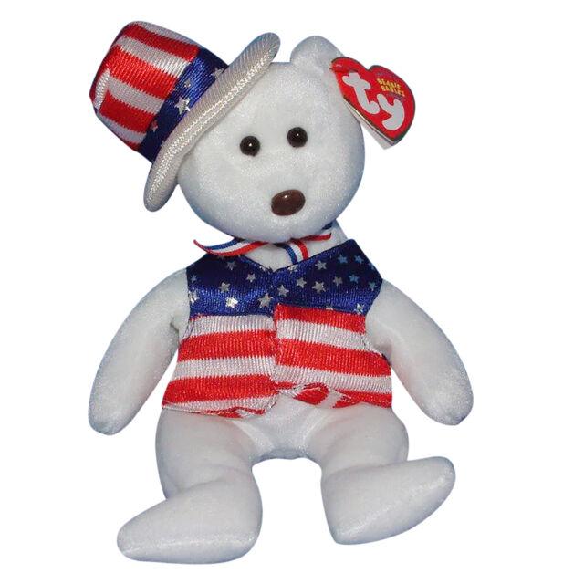 Sam Blue 2003 Ty Beanie Babie 8in Patriotic Hat Bear 3up Boys Girls ... bb43c0d80de