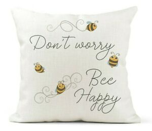 Cream-Canvas-Cushion-Quote-Don-039-t-Worry-Be-Happy-Bees-Bee-Lover