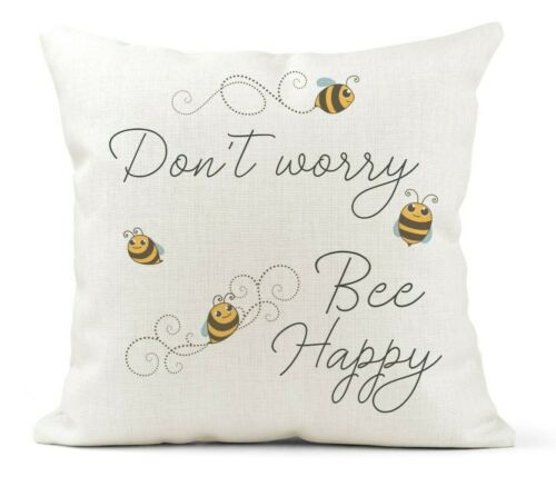 don /'t Worry Be Happy Quota Bee Lover Cream Toile Cushion Bees