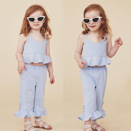 2pcs//set Girls Fashion Plaid Sleevless Halter T shirt Tops+Plaid Flared Pants