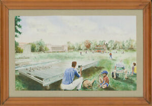 Framed-Contemporary-Watercolour-The-Cricket-Match