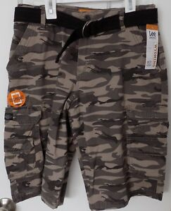 31186ab793 Image is loading LEE-Dungarees-Wyoming-belted-Cargo-SHORTS-CARBON-CAMO-