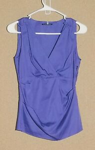 Women-039-s-XS-Elie-Tahari-Purple-Sleeveless-Shirt-Blouse-Career-Top-Cotton-Blend