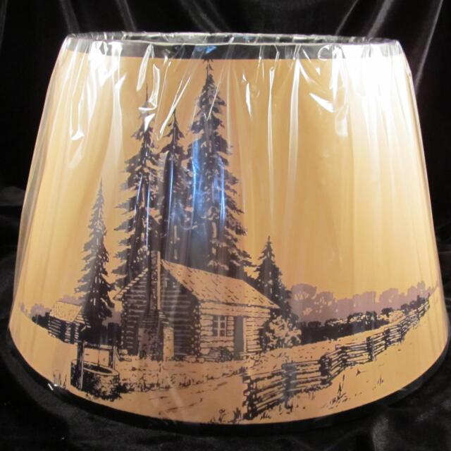 LOG CABIN 14 inch Aladdin Brand Parchment Shade for alladin oil /kerosene lamp
