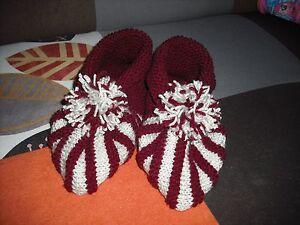 Señoras Botines/zapatillas Tejido A Mano, Tamaño 6.