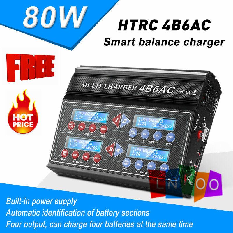 Htrc 4 Puerto B6AC 80W RC coche equilibrio Lipo NiMH Batería Cargador Descargador pb