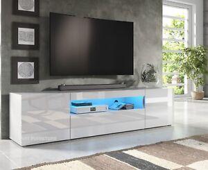 200cm-Long-Modern-TV-Unit-Cabinet-Stand-White-Matt-amp-Gloss-LED-Lights-CL8