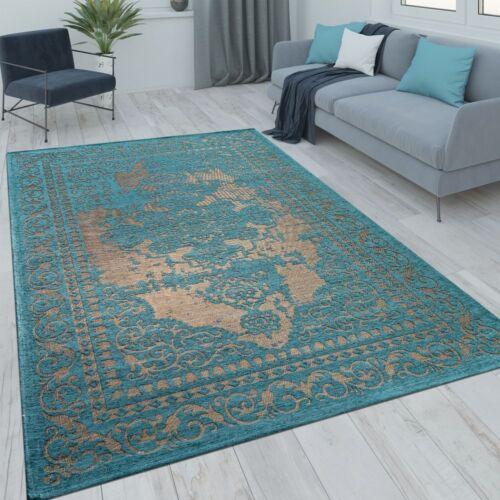 Oriental Short Pile Rug Living Room Modern Vintage Look Turquoise Beige