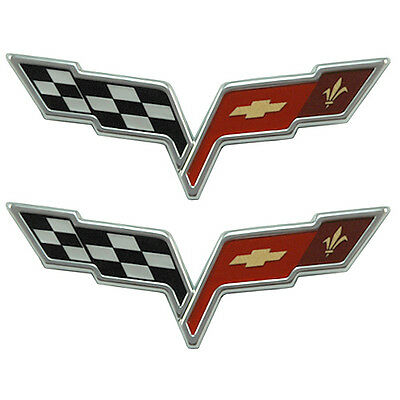 2005-2013 C6 Corvette OEM GM Front Hood & Rear Fascia Crossed Flags Emblems Set
