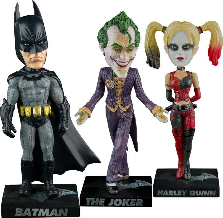 BATMAN  Arkham City - Batman Joker Harley Quinn 7.5  Bobble Head Set (3) by Ikon