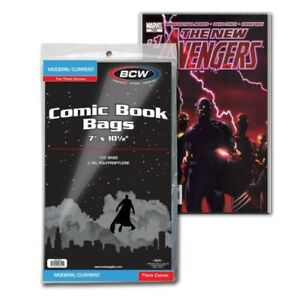 """100 BCW Current / Modern Bags Sleeves Protectors for Thick Comics 7"""" x 10 1/2"""""""