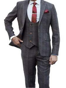 Mens 3 Piece Tweed Suit Grey Blue Check Best Man Groom Peaky Blinders Fit