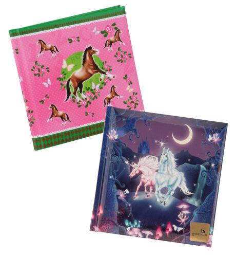 Poesiealbum und Tagebuch Goldbuch Pferde Einhörner und Bambi mit Mutter