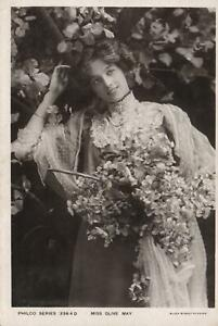 1907-VINTAGE-MISS-OLIVE-MAY-GLAMOUR-DOVER-STREET-STUDIOS-POSTCARD-USED