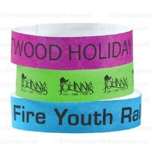 "3/4"" Wide Event Admission Bands Matching In Colour Wristbands 100 Tyvek Wristbands With Your Custom Imprint"