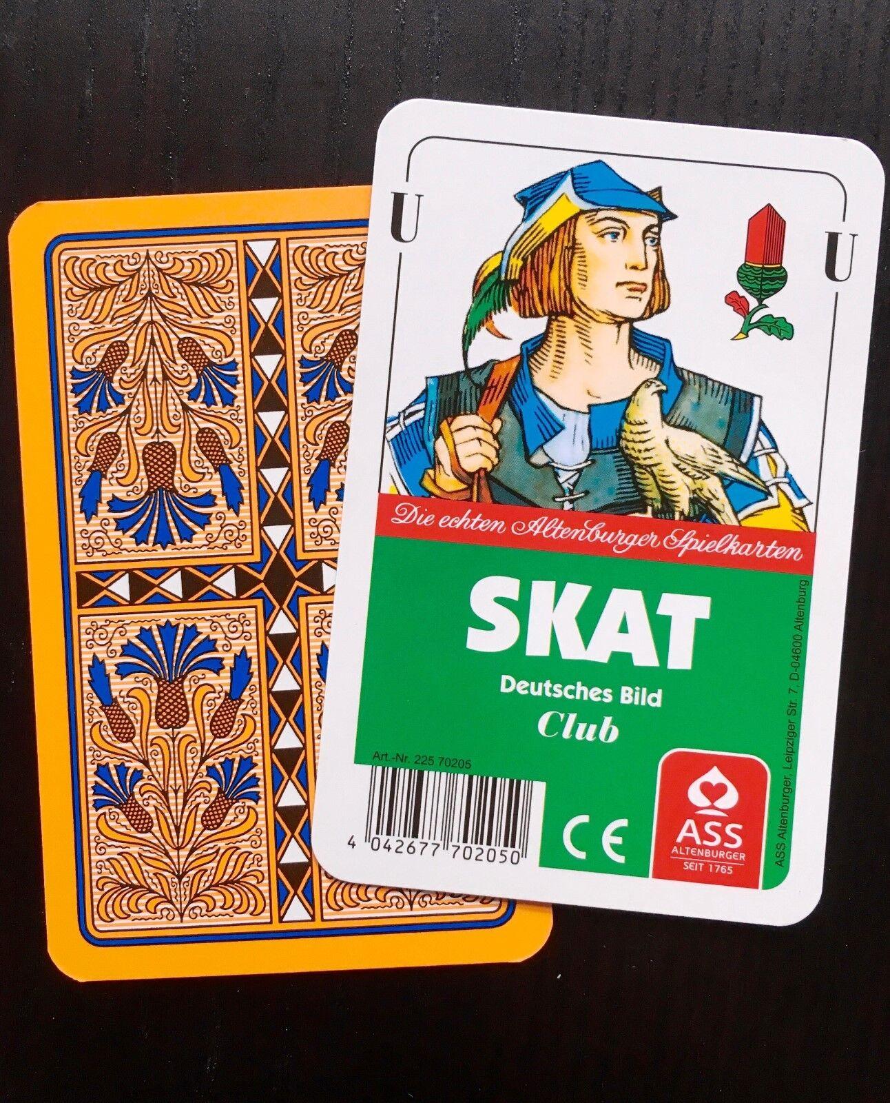 10 ASS Skat Karten Q Skat Blatt Club Deutsches Bild Kornblume,Spielkarten, Q Karten 872a90