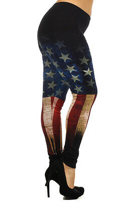 USA AMERICAN flag RED BLUE Rusted ankle leggings pants Cotton 1X 2X 3X