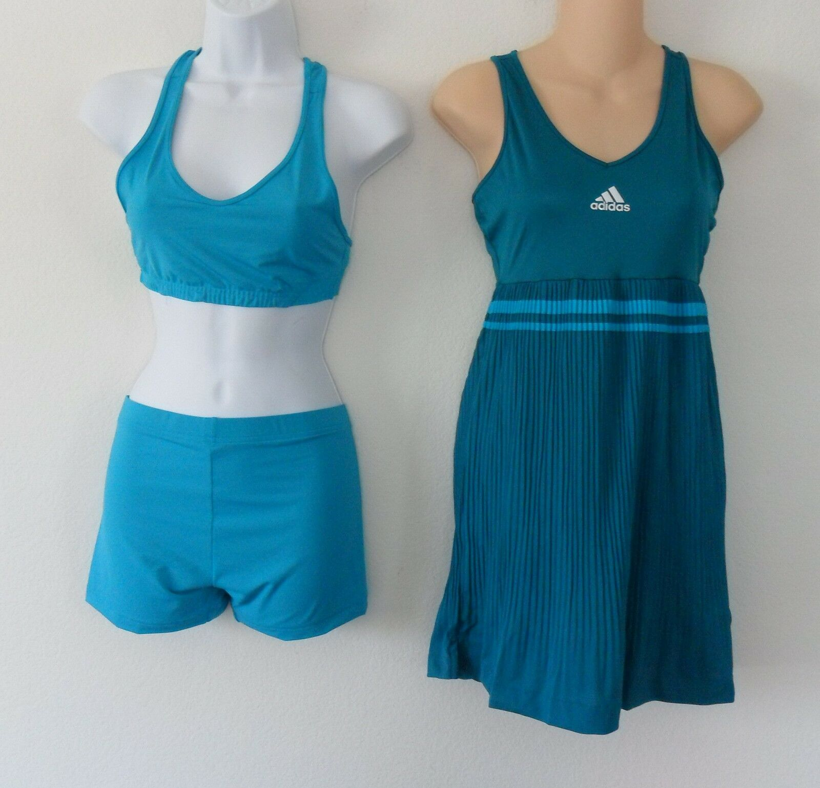 Adidas ADIPURE PLEAT Formotion DRESS skirt Tennis SHORT TIGHT-BRA Top shirtSz S