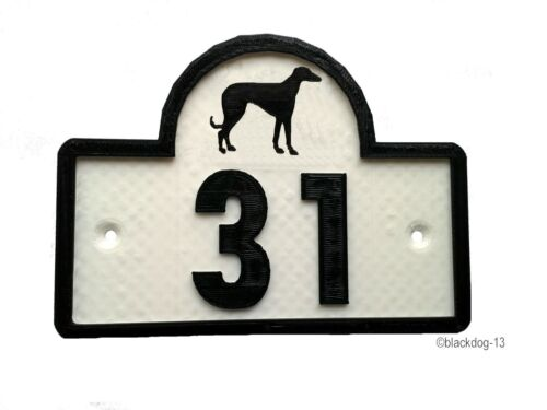 Greyhound House Door Number Plaque 0 to 9999 Garden Gate Dog Sign