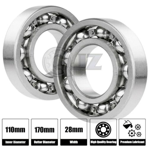 2x 6022-OPEN Ball Bearing 110mm x 170mm x 28mm Premium Open QJZ Free Shipping