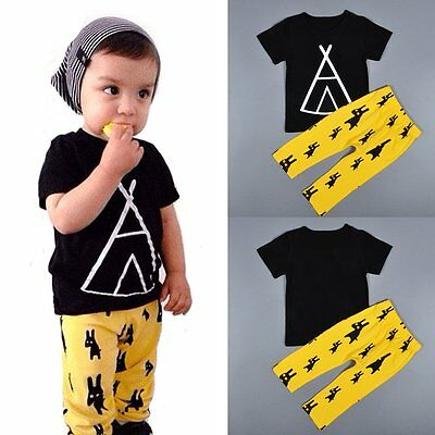 2PCS Baby Boys T-shirt Tops+Long Pants Kids Summer Casual Outfits Clothing Sets