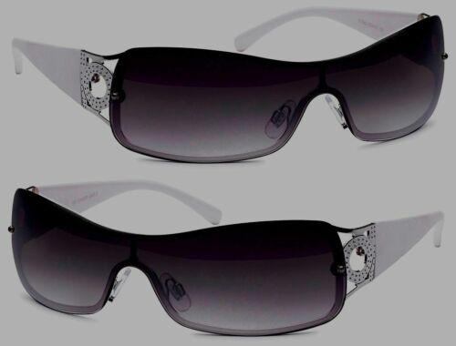 Design Damen Sonnenbrille weiss Kunststoff Gläser grau Bügel Silber Applikation