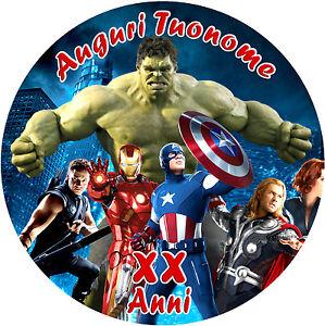 Cialda Ostia Per Torta Avengers Supereroi Personalizzata