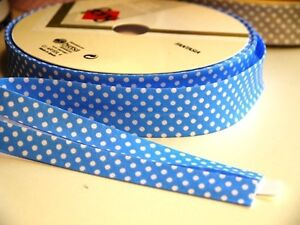 2m 18mm Blue with White Polka Dots Bias Binding Edging Trim - <span itemprop='availableAtOrFrom'>Cambridge, United Kingdom</span> - 2m 18mm Blue with White Polka Dots Bias Binding Edging Trim - Cambridge, United Kingdom