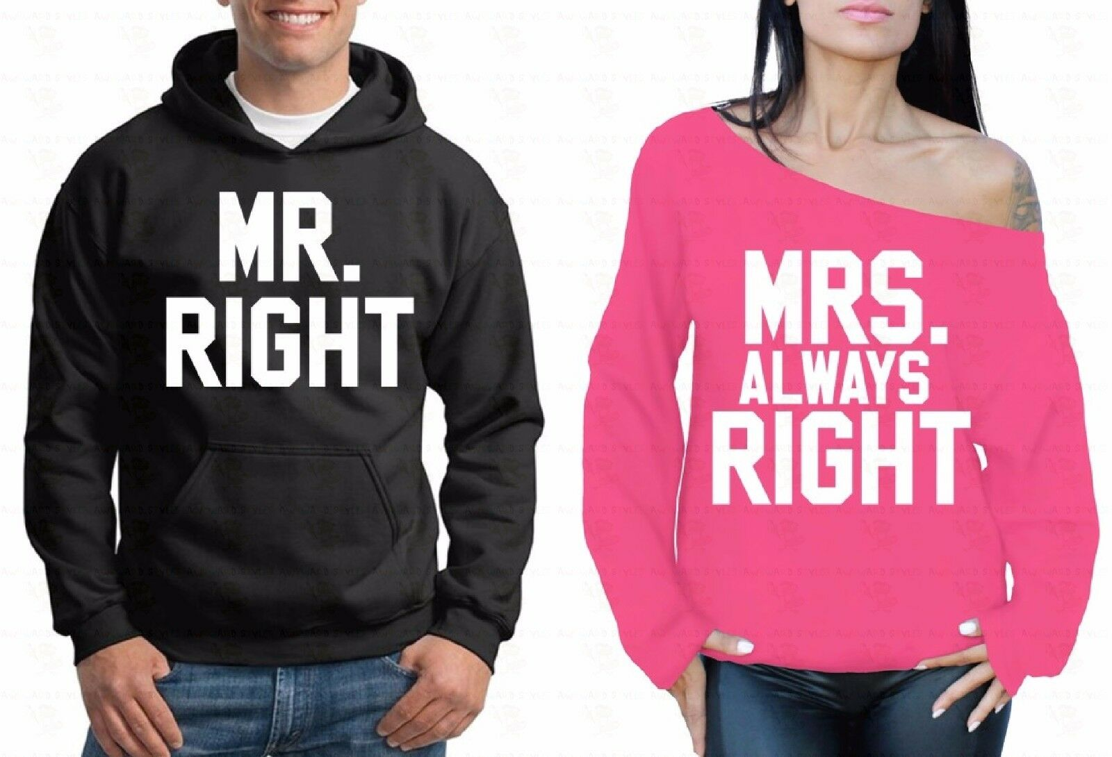Cartoon Mr And Mrs Always Right Couple Off Shoulder Sweater Hoodie Sweatshirt PB
