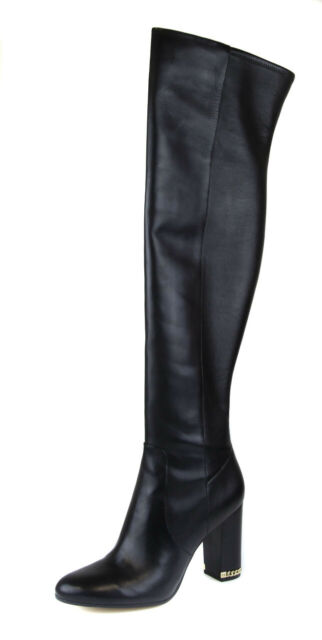 Knee Black Leather BOOTS Size 5.5m