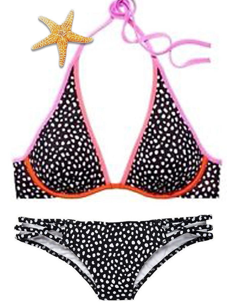 Victoria Secret 34D Pebble Dot High Tie Halter Strappy Small bikini NWT Set