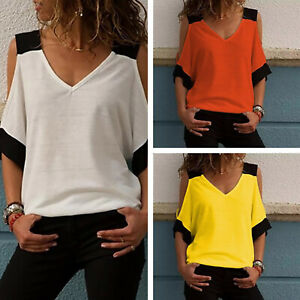 Womens-Cold-Shoulder-Short-Sleeve-V-Neck-Loose-Baggy-T-Shirt-Casual-Blouse-Tops