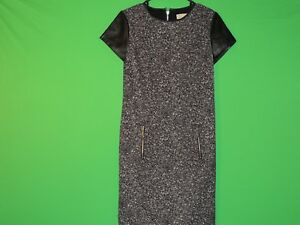 Michael-Kors-Womens-Size-2-Black-White-Short-Slv-Crewneck-Dress