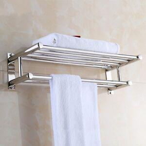 Image Is Loading Wall Mounted Dual Row Bathroom Towel Shelf Rail