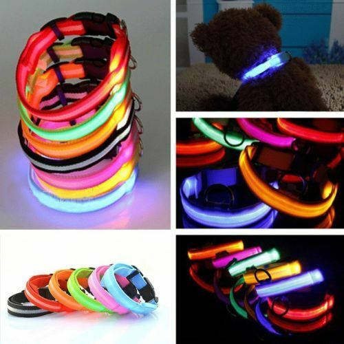 Pets Dog Cat Assorted Size&Color LED Flashing Light-up Glow Safety Nylon Collar