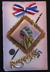 Rare-Good-Luck-Swastika-with-Silk-Chief-Metal-Attachment-Ribbon-Postcard-s247