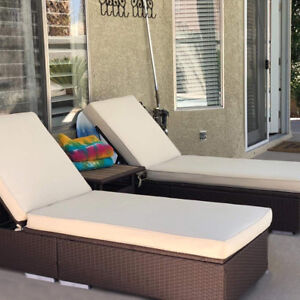 Peachy Details About 3 Piece Pe Wicker Rattan Chaise Lounge Chair Bed Set Patio Furniture W Table New Theyellowbook Wood Chair Design Ideas Theyellowbookinfo