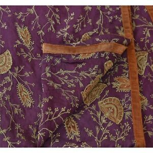 Tcw Vintage Dupatta Long Stole Cotton Veil Purple Hijab Embroidered Wrap Scarves