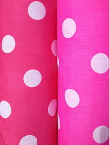 PolyCotton-fabric-SPOTTED-POLKA-DOT-CERISE-HOT-BRIGHT-PINK-WHITE-SPOTS-25-MM