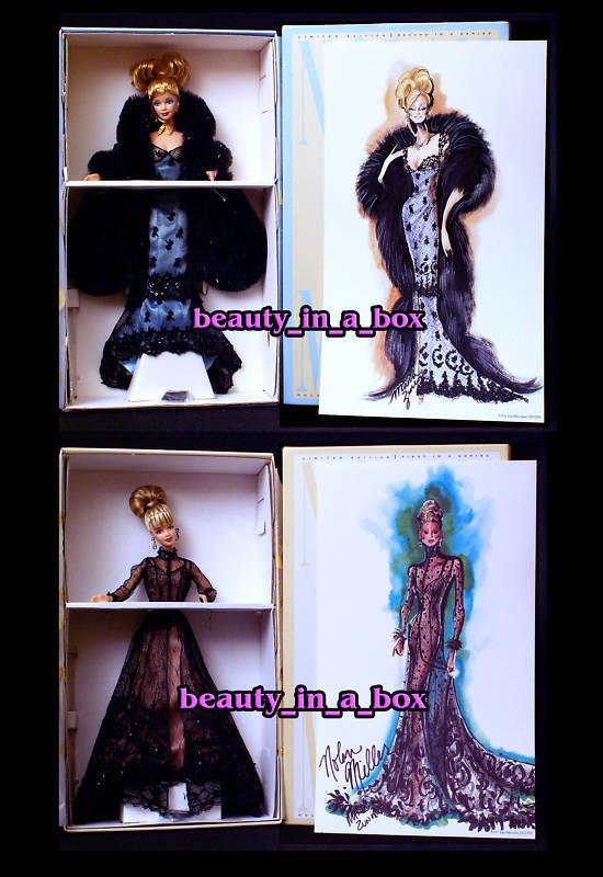 Ilusión de noche & pura ilusión Diseñador Nolan Miller Muñeca Barbie Lote 2
