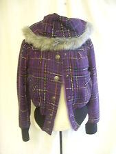 Ladies Coat - Jack BB Dakota, size S, purple/black check, bomber, hooded - 7452