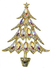 Christmas Tree Pin Brooch Gorgeous AB Crystal Gold Metal