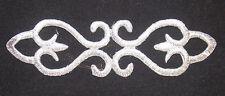 silver metallic embroidery patch lace applique motif dance costume bridal trim
