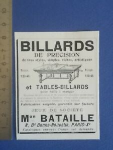 PUB-ANCIENNE-ADVERT-CLIPPING-1904-Billards-jeux-societe-Bataille-Paris