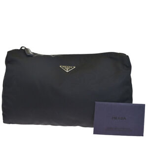 1de636c740 ... coupon code for image is loading authentic prada milano logo pouch hand bag  nylon d82ab 6f986