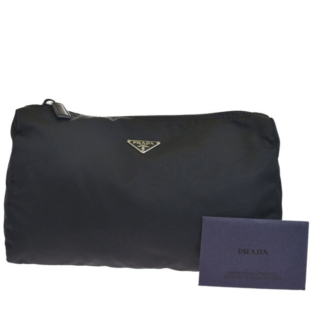 e441e61583f2 Authentic PRADA MILANO Logo Pouch Hand Bag Nylon Leather Black Italy  04HC797e