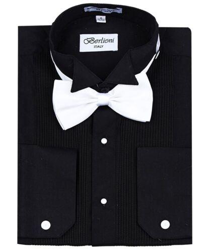 Berlioni Italy Men/'s Italian Tuxedo Wingtip Collar W// Bow-tie Dress Shirt Black