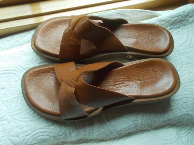 J Crew Size 8 Leather Sandal Slide Brown Made In Spain Wooden Sole 54473